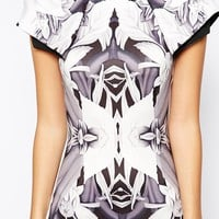 Vesper Sexy Pencil Dress with Origami Sleeve in Mirrored Floral Print