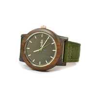 SALE Real WOOD Minimalist Watch - Made from Sandalwood and Military Canvas Strap