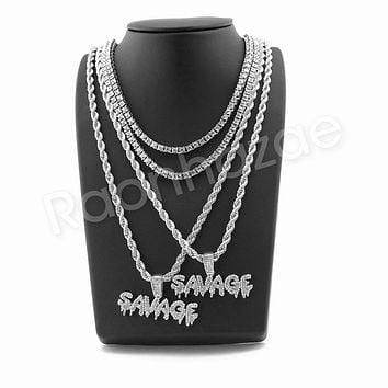 """SAVAGE BUBBLE PENDANT SILVER W/ 24"""" ROPE /18"""" TENNIS CHAIN NECKLACE"""