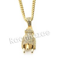 "Mens Brass Bling Electronic Plug Pendant w/ 5mm 24"" 30"" Cuban Chain A03"