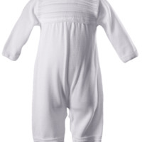 Boys 100% White Cotton Knit Coveralls w. Long Sleeves 0-12m