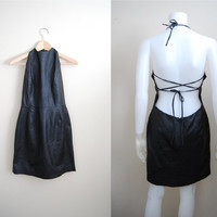 The Rebel - Vintage 90s Backless Criss Cross Halter Dress Party NYE