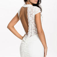 White High Neckline Backless Lace Dress