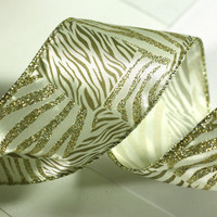 Gold Zebra Christmas Ribbon: White Wire Edged Ribbon with Gold Zebra Patterns with gold edge - 3 yards - 2 1/2 inch wide