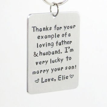 Father of the groom gift - Personalized Bride's gift to Father-of-the-groom - Handmade personalized gift for father-in-law - Keychain gift