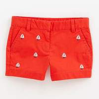Girls Shorts: Casual Sailboat Embroidered Shorts for Girls