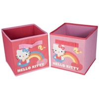 Set of 2 Storage Bins - Hello Kitty Two Pack Storage Bins - Storage Cubes - Open Storage Box Set - Collapsible Storage Boxes - Decorative Storage Box Set - Hello Kitty Storage Bins -Pink