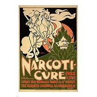 art nouveau vintage AD POSTER for NARCOTI CHEMICAL 1895 collectors 24X36