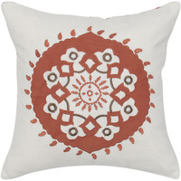 """Applique and Embroidered Ivory Pillow Cover (18"""" x 18"""")"""