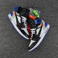 Nike Air Jordan Retro 1 OFF-WHITE Fragment Sneakers Virgil Abloh Fashion Sports Shoes AA3834-103