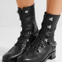Christian Louboutin - Chain-trimmed leather boots