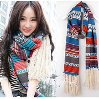 2015 Vintage Style Scarves Knitted Infinite Long Scarf Retro Bohemian