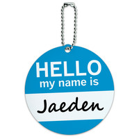Jaeden Hello My Name Is Round ID Card Luggage Tag