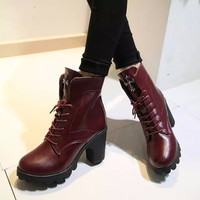Womens Trendy Edgy Casual Heel Boots