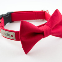 Classic Solid Bright Red Wedding Bow Tie Dog Collar by SillyBuddy