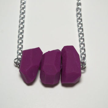 Geometric purple clay bead necklace