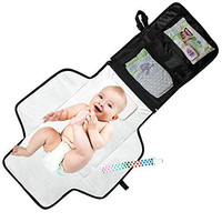 Mom's Besty™ Luxury Baby Change Pad with Built-in Head Cushion - Portable Diaper Changing Station for Travel and Home - BONUS Pacifier Holder Clip