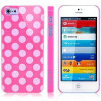 i-Blason Dalmation Series Polka Dot Design Slim Fit Hard Shell Case for Apple New iPhone 5 AT&T, Sprint, Verizon 4G LTE Retail Packaging (Multi-Color Available) (Pink / White)