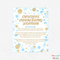 Envelope Addressing Station Sign - Blue and Gold Baby Shower Printable - Boy Write Your Address Glitter Confetti Instant Download CB0003-bg