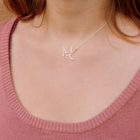Sterling silver swallow bird necklace, hollow bird necklace, sparow bird necklace, everyday minimalist necklace, elegant necklace, gift 032