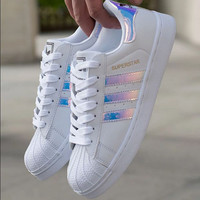 """Adidas"" Fashion Reflective Shell-toe Flats Sneakers Sport Shoes Laser"