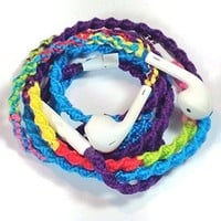 MyBuds Wrapped Tangle-Free Earbuds for iPhone | 80s Retro Remix DEUX | Genuine earPods with Microphone and Volume Control