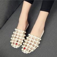 Slippers Women Slip On Shoes For Women Flat Sandals Sweet Beading Pearls Summer Shoes Flip Flops zapatos mujer Shoes Woman