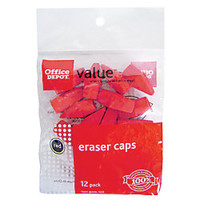 Office Depot Brand Eraser Caps Red Pack Of 12 by Office Depot & OfficeMax