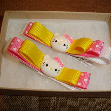 Handmade Hair Barrettes - Cute Kittens with Bow hair clip