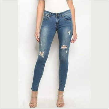 Ripped Detail Skinny Fit Jeans