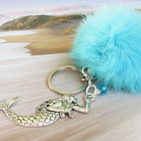 Pom Pom Keychain, Rabbit Fur Keychain, Fur Pom Pom, Mermaid Keychain, Fluffy Keychain, Blue Fur Keychain, Personalized Mermaid Keychain