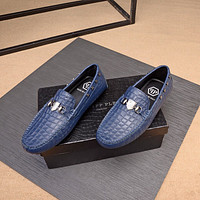 PP Philipp Plein Men's Leather Fashion Loafers Shoes