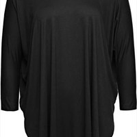 Black Panelled Longline Jersey Top With Curved Hem plus size 14,16,18,20,22,24,26,28,30,32