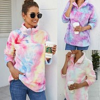 2020 autumn and winter new women's tie-dye printed plush long-sleeved sweater