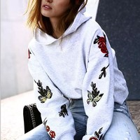 Cotton Grey Print Long Sleeve Hoodies [256908001306]