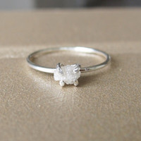 White Raw Diamond Ring, Sterling Silver Uncut Diamond Ring, Rough Diamond Ring, Diamond Engagement Ring, Promise Ring, April Birthstone Ring