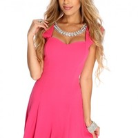 Fuchsia Faceted Beaded A-Line Dress