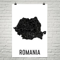 Romania Wall Map Print - Modern Map Art
