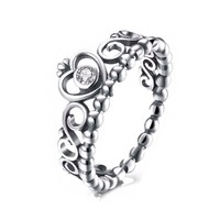 Women's Kingdom Faith Love Crown, 925 Sterling Silver Ring, Cubic Zirconia