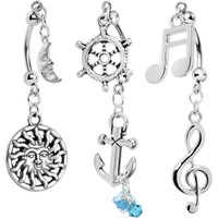 Sea Song Double Mount Belly Ring 3 Pack MADE WITH SWAROVSKI ELEMENTS | Body Candy Body Jewelry