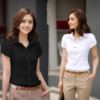 2015 New Contracted Fashion Women's Shirts Elegant OL Dresses Business Formal Short Sleeve Chiffon Blouses Plus Size 5XL Casual