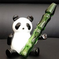 NEW glass smoking pipes Creative Panda style glass pipes glass pipe height 11 cm