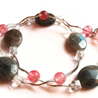 Beaded Necklace, Labradorite, Cherry Quartz, Crystals, Dark Grey Pink Rose White, Sterling Silver Findings
