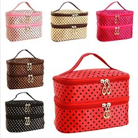 Cosmetic Bag  Double layer small dots   makeup tool storage