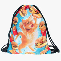 Cheeseburger Cat Drawstring Backpack/Bag
