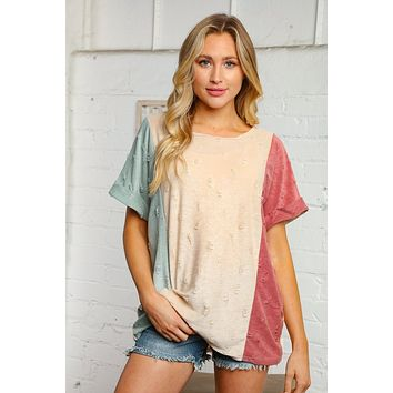 Multi Color Ripped Design Capped Sleeve Knit Top