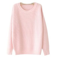 Your Gallery Womens Elegant Candy Color Long Sleeve Winter Pullover Knit Sweater