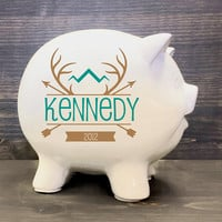 "Piggy bank, Deer Hunting, Forest Animal, Woodland Nursery 5.5"", Gift for Baby boy, Baby shower decor, kid first birthday, white ceramic bank"