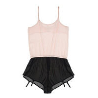 Sheer Silk Chiffon Romper with Garters