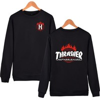 Round-neck Fleece Pullover Alphabet Hoodies [10469373379]
